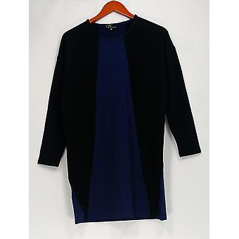 GK George Kotsiopoulos Top 3/4 Sleeve Color-Block Black/Blue A267497