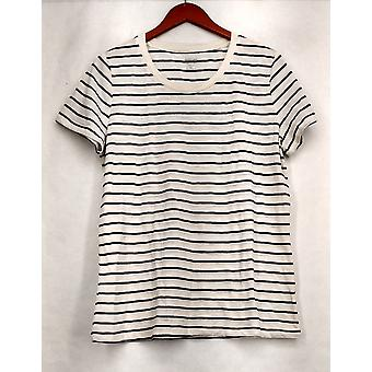 Mossimo Supply Co. XXL Striped Short Sleeve Tee White / Black Top Womens