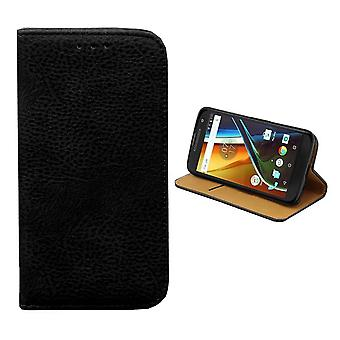 Motorola Moto G4 Ledertasche Schwarz - Bücherregal