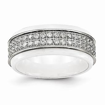 8mm Stainless Steel Polished White Ceramic CZ Cubic Zirconia Simulated Diamond Ridged Edge Ring Jewelry Gifts for Women