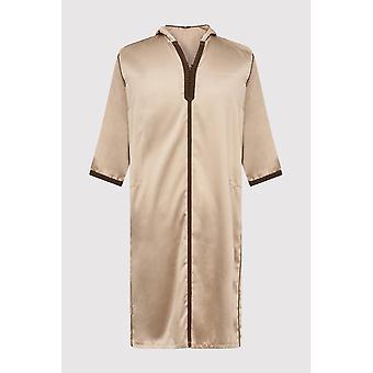 Djellaba bakir boy's contrast trim cropped sleeve hooded satin robe thobe in beige (2-12yrs)
