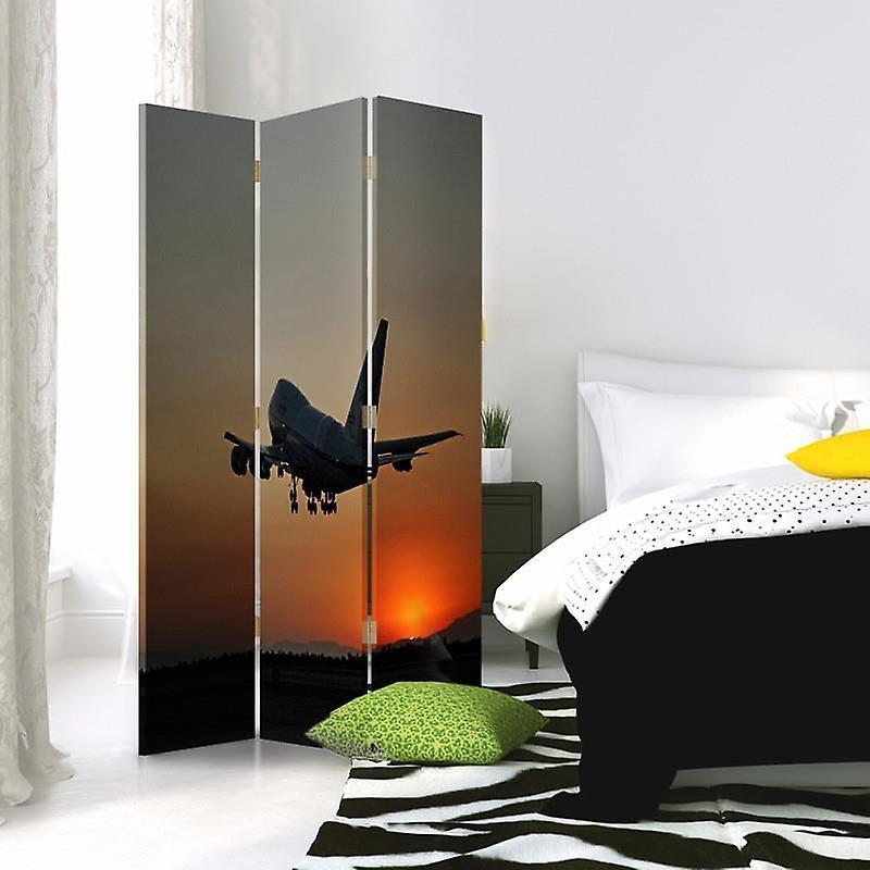 Diviseur de chambre, 3 panneaux, double-sided, 360 rotatable, toile, avion la nuit