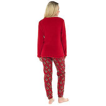Ladies Reindeer Embroidered Design Microfleece Long Twosie Sleepwear
