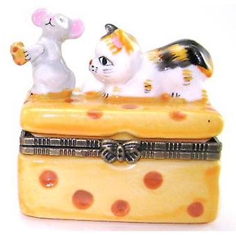 Cat and Mouse Mice Cheese Hinged Trinket Box
