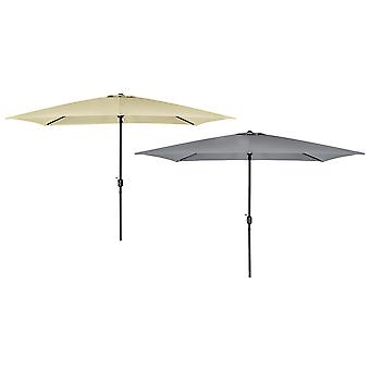 Charles Bentley Rechteckgarzen Parasol Umbrella mit Hard-Wearing Steel Frame in Beige/Light Grey-3X2M