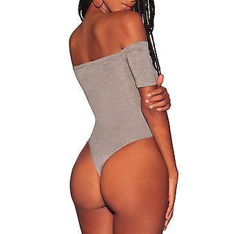 Ancapelion Women's Off Shoulder Short Sleeve Bodysuit, Grey Button, Size Small