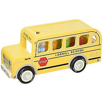 Indigo Jamm Benji Bus houten speelgoed, gele Amerikaanse schoolbus met verwisselbare dak en passagiers