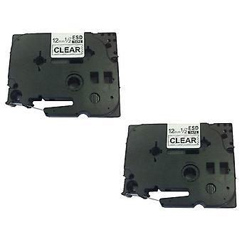 Kaseta Prestige™ kompatybilna z tz131 czarna na przezroczystych taśmach etykietowych (12mm x 8m) do maszyn do drukowania etykiet szeregowych brother p-touch