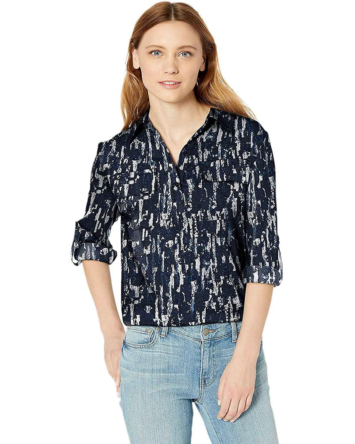 Kenneth Cole Womens Button Down Boyfriend Blouse