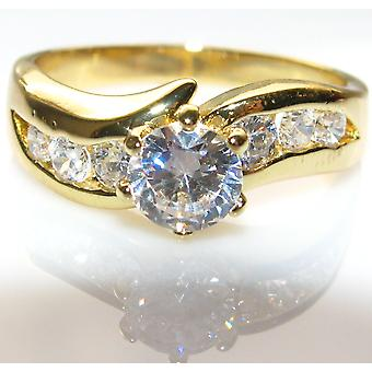 Ah! Jewellery Simulated Diamonds Clear Crystal Heavily Gold Electroplated Ring.