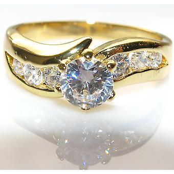 Ah! Schmuck simuliert Diamanten klar Kristall stark Gold galvanisierte Ring.