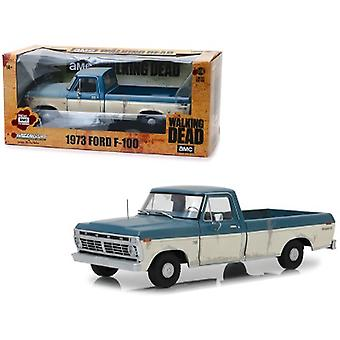 1973 Ford F-100 Ranger Xlt Pickup Truck Blue And Cream (Weathered) The Walking Dead (2010) Tv Series 1/18 Diecast Model Car By Greenlight