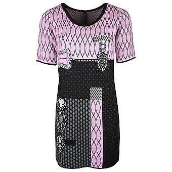 Sally New York Pink & Black Knitted Dress With Short Sleeves