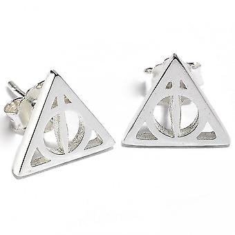 Harry Potter Womens Sterling Silver Deathly Hallows Earrings