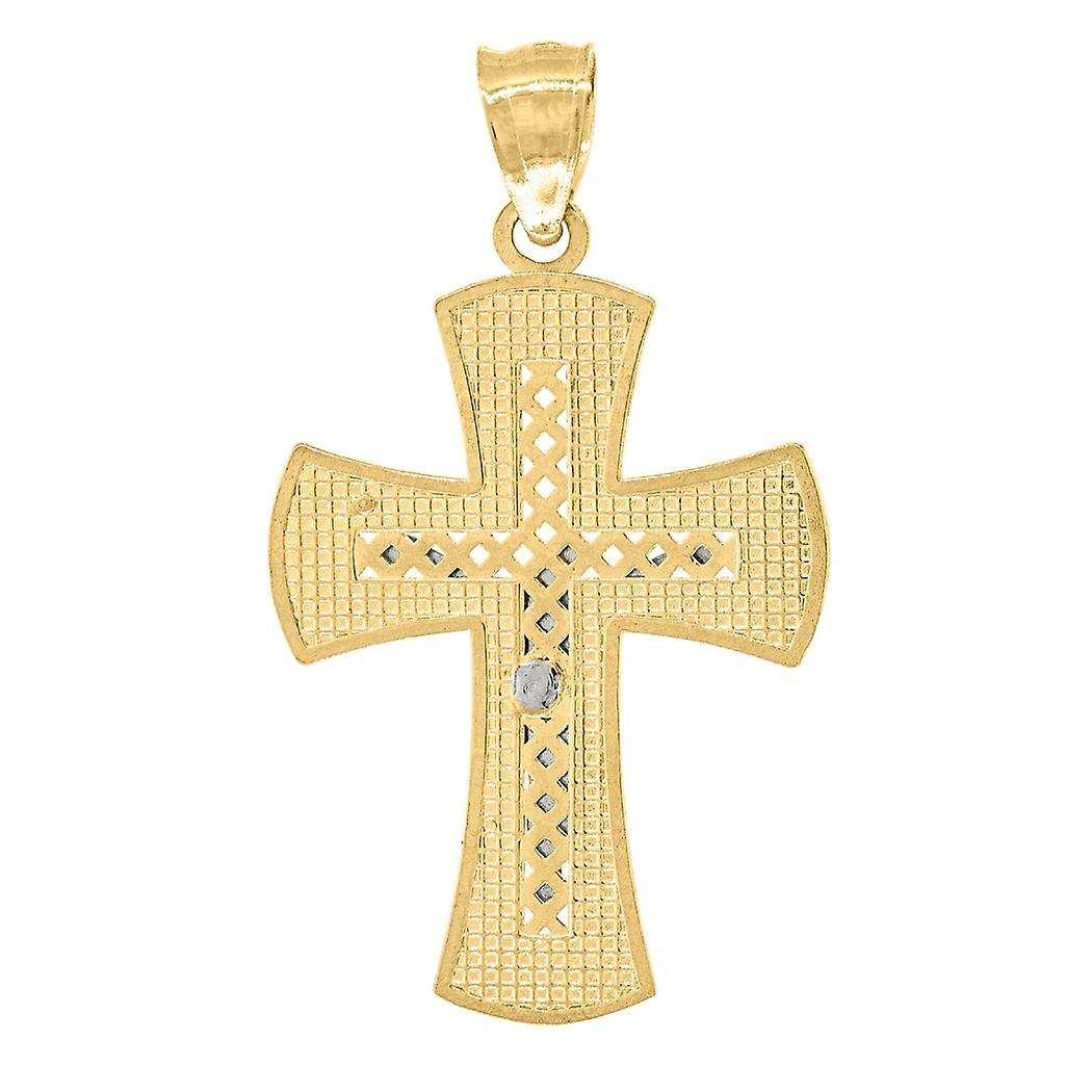 14k Gold Mens Two tone Cross Crucifix Height 31.2mm Religious Pendant Necklace Charm Jewelry Gifts for Men