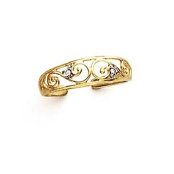 14k Yellow Gold Diamond Scroll Toe Ring Jewelry Gifts for Women - .02 dwt
