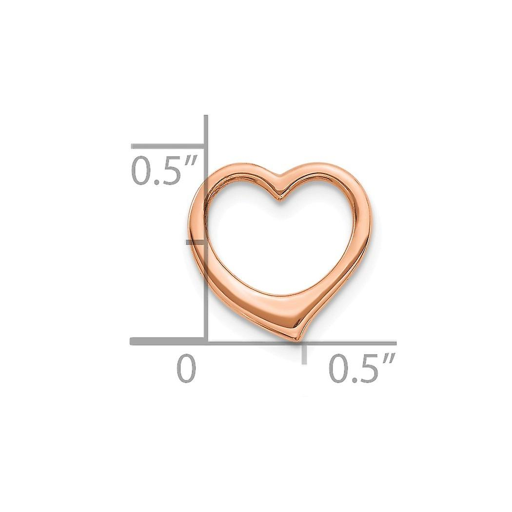 10k Rose Gold 3 d Floating Love Heart Pendant Necklace Solid Jewelry Gifts for Women - .9 Grams