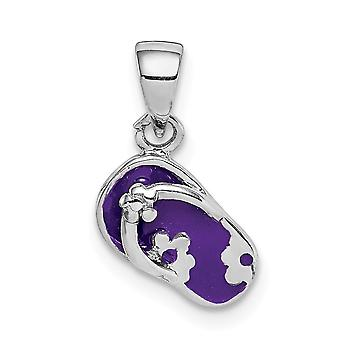 925 Sterling Silver Rhodium plated for boys or girls Enameled Purple Flip Flop Pendant Necklace