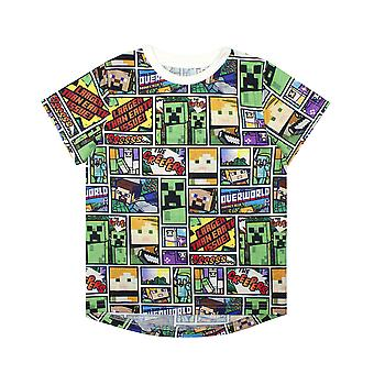 Minecraft T Shirt Overworld Steve Creeper Boy's Kids Short Sleeve Shirt Top