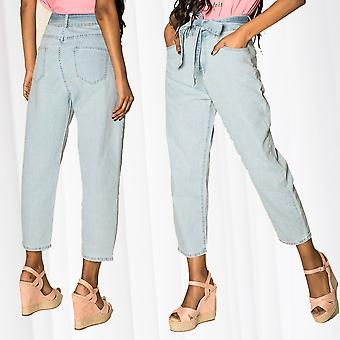 Women's Mom Jeans High-Waist Pants Culotte Cropped Wide Pants Belt Relaxed