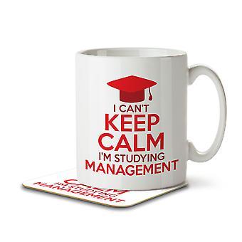 I Can't Keep Calm I'm Studying Management - Mug and Coaster