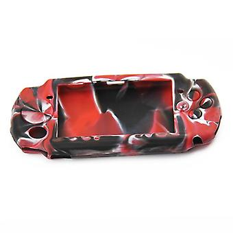 Protective cover for psp 3000 sony console silicone skin rubber case - red & black camo | zedlabz