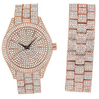 Full Iced Out Bling Watch Bracelet Set - rose gold