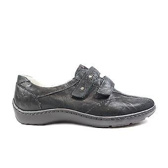 Waldläufer Joy Henni 496301 101 001 Black Leather Womens Wide Fitting Rip Tape Shoes