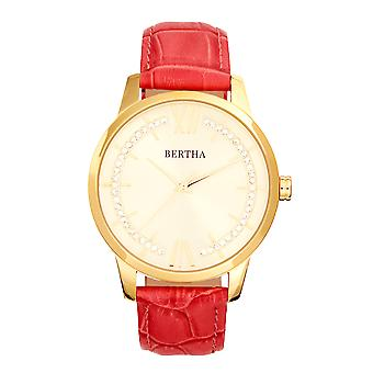 Bertha Prudence Leather-Band Watch - Pink
