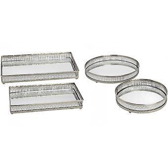 Hill Interiors Set Of Two Nickel Plated Trays (Circular/Rectangular)