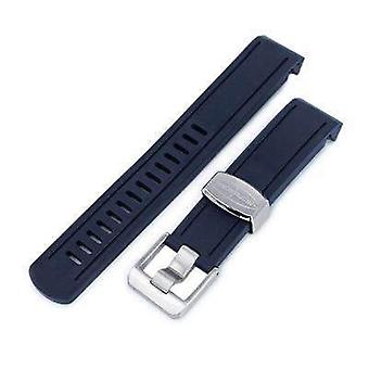 Strapcode rubber watch strap 20mm crafter blue - navy blue rubber curved lug watch band for seiko sumo sbdc001