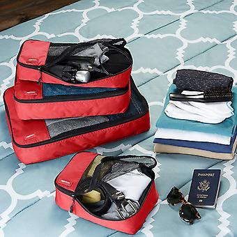 Basics 4 Piece Packing Travel, Red, Size Small, Medium, Large, and Slim