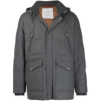 Brunello Cucinelli Mm4281395cz283 Men's Grey Wool Outerwear Jacket