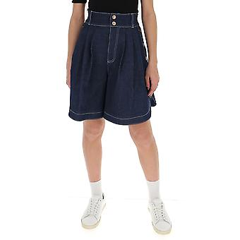 See By Chloé Chs20uds021504c5 Women's Blue Cotton Shorts