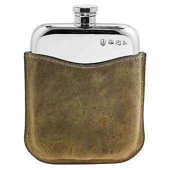 Plain Polished Pewter Purse Flask in Stone Leather Pouch - 6oz