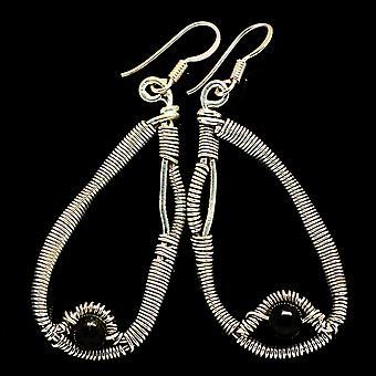 """Black Onyx Earrings 2 1/4"""" (925 Sterling Silver)  - Handmade Boho Vintage Jewelry EARR400529"""