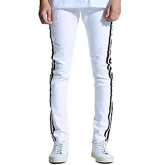 Embellish Bolt Standard Denim Jeans White Black