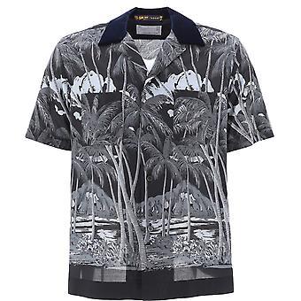 Sacai 02192mblack Men's White/black Polyester T-shirt
