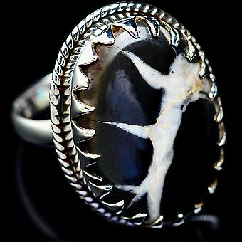 Large Septarian Geode Ring Size 11 (925 Sterling Silver)  - Handmade Boho Vintage Jewelry RING5379