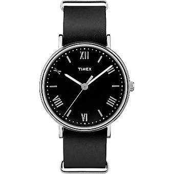 Tw2R28600, Timex Mens Tw2R28600 Southview Silvertone Black Leather Strap Watch
