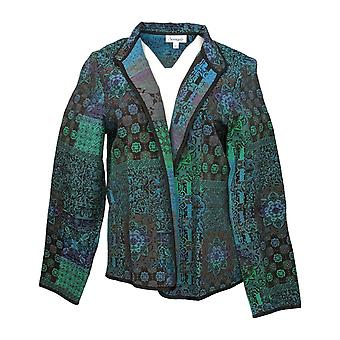 Serengeti Women's Coat Printed Open Front Stand Collar Jacket Green