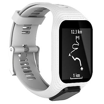 for TomTom Runner 3 Replacement Wristband Bracelet Strap Band Metal Buckle GPS Watch[White]