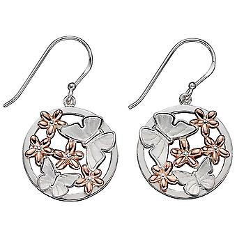 Elemente Silber Schmetterling und Blume Ohrringe - Silber/Rose Gold