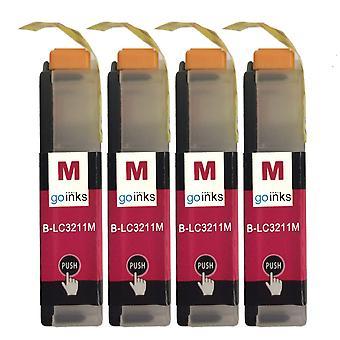 4 cartouches d'encre Magenta pour remplacer Brother LC3211M Compatible/non OEM par Go Inks