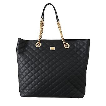 Black leather quilted women shopping hand tote bag
