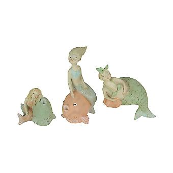 Set of 3 Whimsical Hand Painted Pastel Mermaid Statues