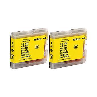 RudyTwos 2 x erstatning for Brother LC-970Y/1000Y blekk enhet gul kompatibel med DCP - 130C, DCP - 135C, DCP - 150C, DCP - 153C, DCP - 155C, DCP - 157C, DCP - 260C, DCP - 330C, DCP - 350C, DCP - 353C, DCP - 357C, DCP - 375C