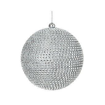 Large 12cm Silver Diamante Bauble for Tree and Home