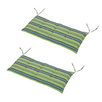 Outsunny Set Of 2 Bench Cushions 2 Seater Chair Foam Padded Garden Double Seat w/ Tie Fastenings Striped Green Grey