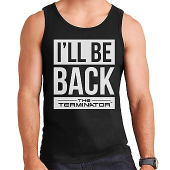 The Terminator Ill Be Back White Text Men's Vest